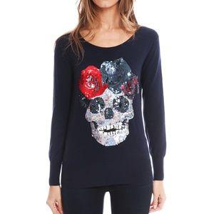 Markus Lupfer Skull Sequin Wool Blue Sweater M